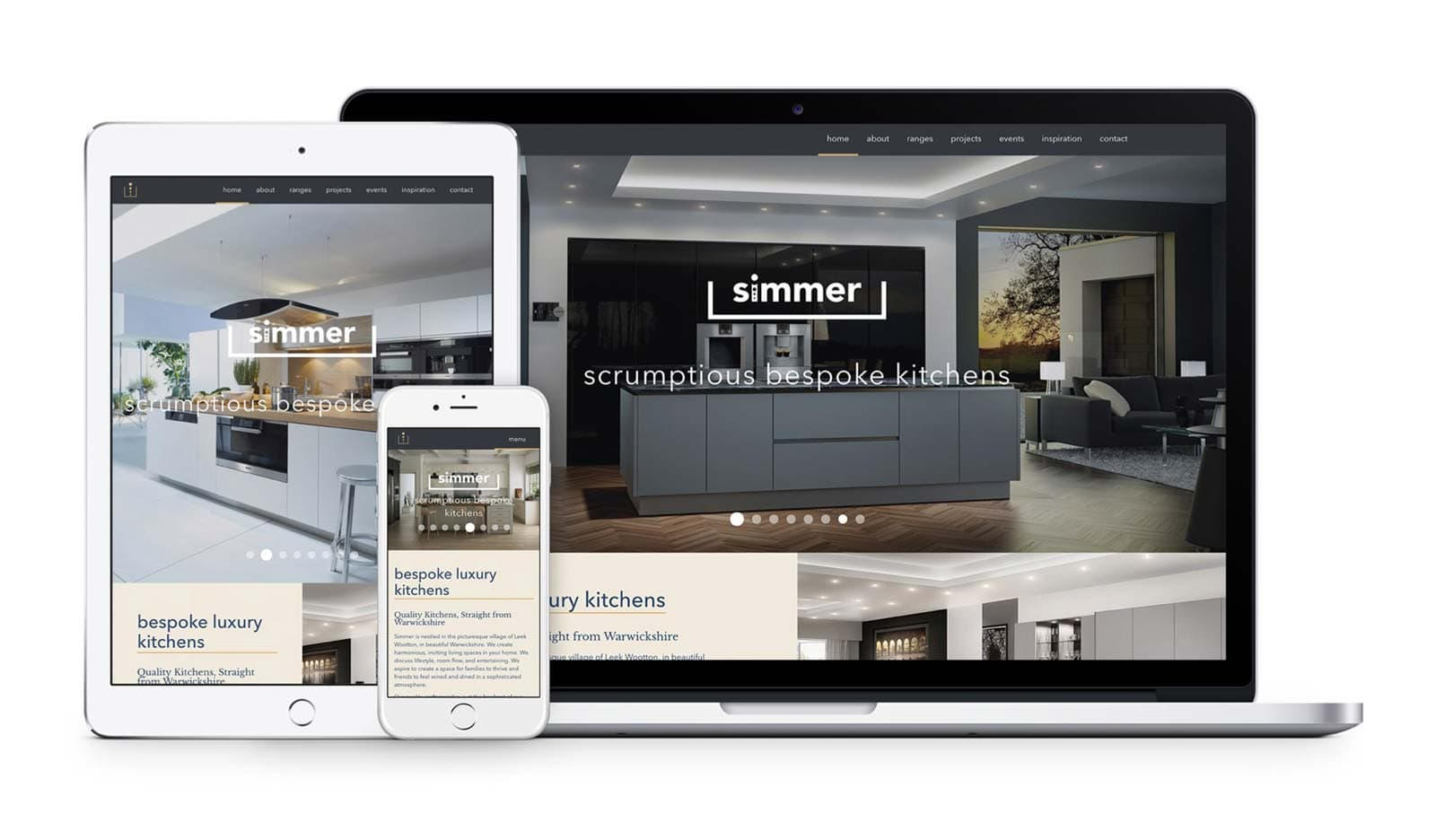 Simmer kitchens website showcased on different devices