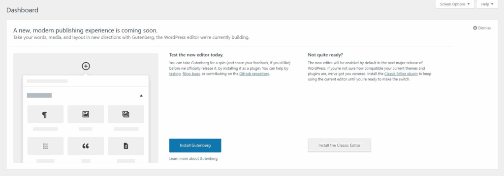Gutenberg editor in the new wordpress update
