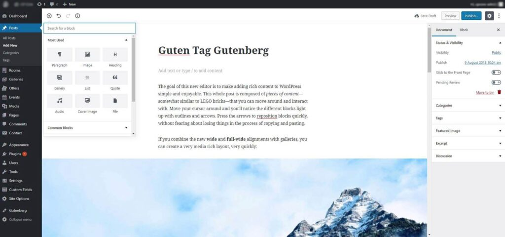 showcasing the Gutenberg editor