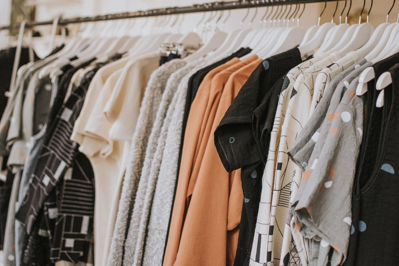 Clothes on a clothing rail